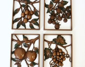 Set of Four Syroco Fruit Wall Plaques
