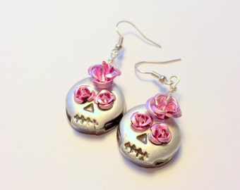 Black, Pink, and Silver Sugar Skull and Roses Handmade Polymer Clay Earrings