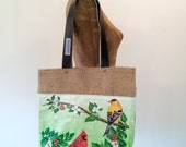 Tote Bag, Recycled Bird Seed Bag, burlap-lined, eco-friendly Maine-made gift