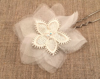 Bridal hairpin with hand cut organza petals, lace flower and swarovski crystals