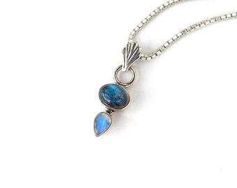 Labradorite and Moonstone Pendant: Sterling silver, Rainbow Moonstone, Labradorite, 18 inch box chain, blue schiller flash, small pendant