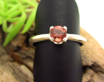 Spessartite Garnet Ring in Sterling Silver, Brownish-Peach color Gemstone - Free Gift Wrapping
