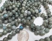 Labradorite Beads, Blue Flash, 10mm Gray Labradorite, Faceted Round 10mm, Polished Gray Labradorite, Qty 20 - gm444