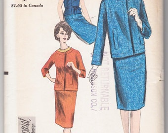 "1960's Vintage Sewing Pattern Vogue 5766 Two Piece Suit & Blouse 36"" Bust FF- Free Pattern Grading E-book Included"