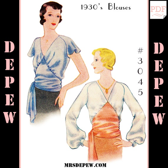 1930s Style Tops, Blouses & Sweaters Blouse 1930s #3045 -INSTANT DOWNLOAD $8.50 AT vintagedancer.com