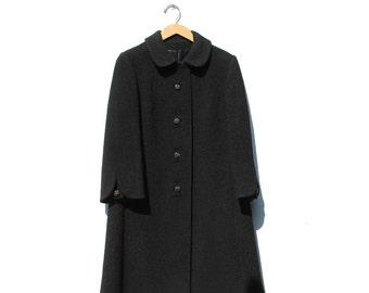 Vintage Peter Pan Collar Black Wool Coat / Rhinestone button Wool Coat