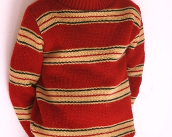 Vintage boys sweater striped acrylic size 7