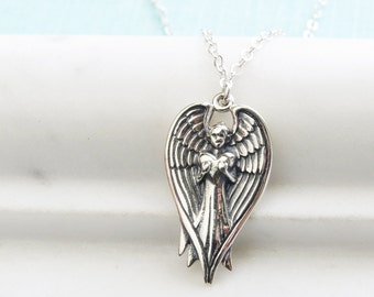 Guardian Angel Necklace • Angel Holding Heart Necklace •Sterling Silver Guardian Angel • Baptism Gift • Angel Jewelry • Angel Wings