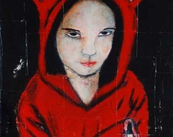 Reserved Custom Listing for Mark Woods - Stubborn Little Girl Giclee Print on Canvas