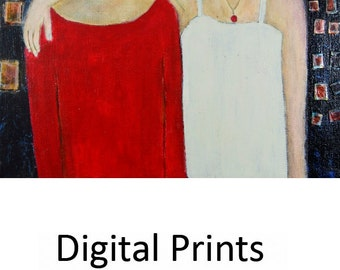 Best Girl Friends Painting Print. Best Friends Digital Print. Women Wall Decor. Birthday Gift for Her.
