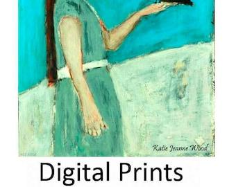 Digital Print. Girl & Bird Figure Painting. Blackbird Crow Print. Wall Art Prints. Child's Room Wall Decor. Children's Print