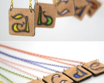 Custom Letter Jewelry, Felt and Wood Personalized Pendant, Special Letter Design Necklace, Custom Natural Pendant,  Wooden Monogram Jewelry