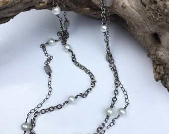 Not Your Mom's Pearls Dual Strand Labradorite and Pearl Chain Strand Lois McManus Evitts Creek Modern Pearls