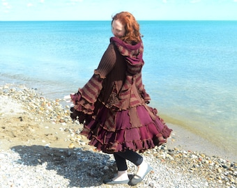 RESERVED for Barbara Chocolate Raspberry Sorbet Medium frankensweater upcycled recycled gypsy coat sweater 108