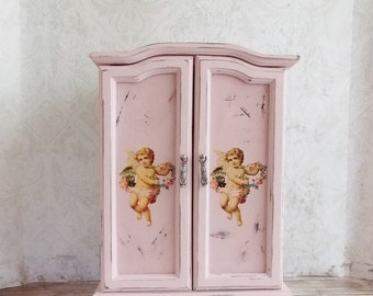 Shabby Cottage Chic Pink Angel Tattered Upcycled Repurposed Tall Music Jewelry Box