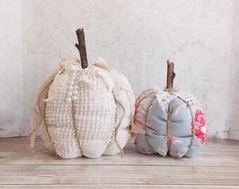 Shabby Cottage Chic Cream Vintage Chenille and Blue Roses Tattered Fall Holiday Fabric Pumpkins Set of 2