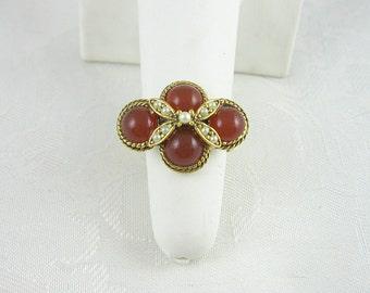Vintage Carnelian Cabochon Faux Pearl Ring Goldtone Adjustable Size 8