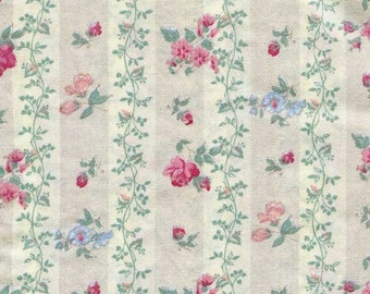 Cotton Fabric, 1 Yard Vintage 1980-90  Cotton Designer Fabric, Ticking  Design w Rose & Blue Flowers, Roses, Vines on Bone and White Stripes