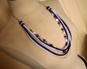 MARKED DOWN Purple & White Beaded Tshirt Necklace