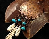 Copper Necklace Pendant Handstamped Metalwork with Turquoise and Carved Bone Accents