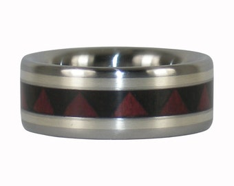 Silver Inlay Ring with Tribal Wood Pattern