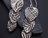SALE  Triple Play Teardrop Earrings - Sterling Silver