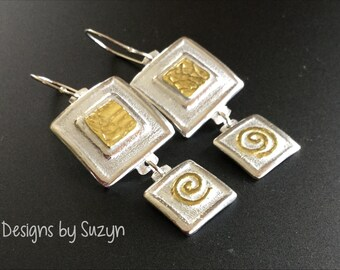 Square, sterling  silver, 22K gold, earrings, dangle, lightweight, designs by Suzyn,  not oxidized, brushed finish