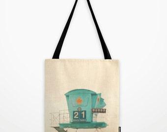 beach tote bag, lifeguard tower print, blue bag, market tote, beach photography, aqua blue, turquoise, book bag, gym bag, yoga tote