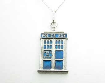 Tardis Necklace, Doctor Who Necklace, Doctor Who Fan, Police Box Necklace, Blue Tardis Charm Necklace, X003