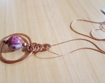 Hammered Copper Pendant with Ruby Crazy Lace Agate and Rose Gold Chain