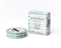 Lines Washi Tape - 15mm x 15 Metres - Blue Washi Tape Roll - Grey Washi Tape - KIKUSUI Paper Tape - Extra Long Washi Tape - Masking Tape
