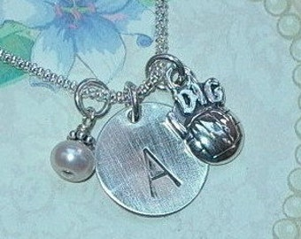 Volleyball Necklace - Personalized I Dig Volleyball Hand Stamped Sterling Silver Initial Charm Necklace - Volleyball Jewelry