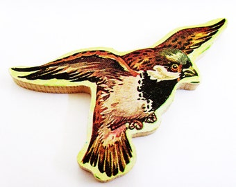 Sparrow Brooch - Pin / Brown Feathered Flying Bird Wood Brooch / Upcycled 1960s Hand Cut Wood Puzzle Pieces / Unique Gift Under 50