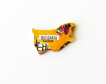 1960s Bulgaria Brooch - Pin / Unique Wearable History Gift Idea / Upcycled Vintage Hand Cut Wood Jewelry / Timeless Gift Under 50