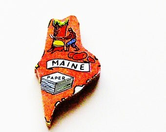 1960s Maine Brooch - Pin / Unique Wearable History Gift Idea / Upcycled Vintage Hand Cut Wood Jewelry / Timeless Gift Under 25