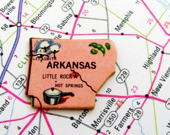 1961 Arkansas Brooch - Pin / Unique Wearable History Gift Idea / Upcycled Vintage Wood Jewelry / Timeless Gift Under 25