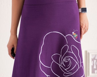 Jersey knit skirt, Cotton A line Knee Length Purple Skirt with Canvas Applique, Plus SIze Midi skirt - Bug has gone for a walk