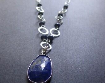 Lapis Lazuli Necklace, Lapis Sterling Silver Necklace, Lapis Pendant Necklace