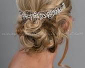 Bridal Hair Swag, Pearl and Rhinestone Headpiece, Wedding Hair Vine - Konchessa
