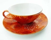 Japanese Chrysanthemum Red Orange Gold Porcelain Tea Cup & Saucer Set Antique 1930s Moriage Hand Painted