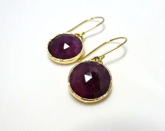 Ruby Rose Earrings, Handmade Dangle earrings with Recycled 14k yellow gold, Birthstone earrings, Birthstone Gift for Her