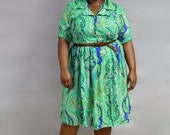 Vintage Plus Size Dress // Paisley Day Dress // Blue & Green Psychedelic Print // XL XXL Dress
