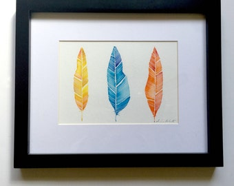 Framed Feather Watercolor Original Art, Three Feathers Watercolor Paintings, Original Feather Art, Yellow Blue Red Feathers Original Art