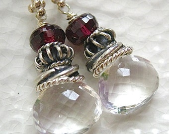 Crystal Quartz, Garnet, Sterling Silve Earrings-Iced Berries