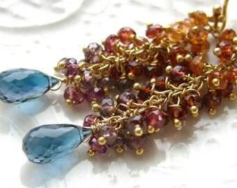 """London Blue Topaz Tassel earrings-""""Ciel d'automne"""""""