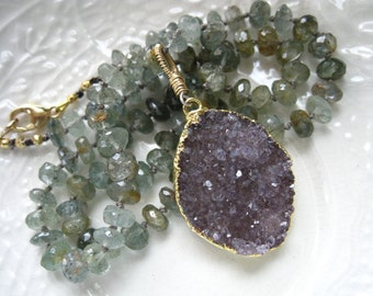 Druzy and Aquamarine Necklace Lilac Gray Druzy Necklace Boho Chic Druzy Necklace Hand Knotted Silk Gemstone Necklace