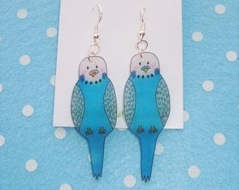 Tweet tweet how sweet aqua budgie earrings
