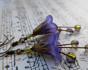 Petite Violet Lily Earrings - Lucite Flowers, Czech Glass, Antique Brass Mini Blooming Earrings
