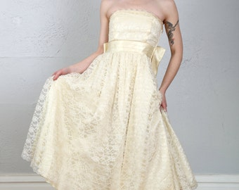Lace & Satin Dress . Strapless Gown