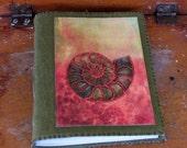 ammonite journal - nautilus - green waxed canvas journal